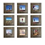 9-set, Tiny Mighty Frames - Distressed Wood, Square Instagram Photo Frame, 4x4 (3.5x3.5 window) (9)
