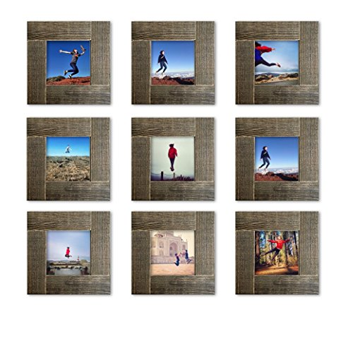 Picture Frame Labs Small - Tiny Mighty Frames 9-Set, Distressed Wood, Square Instagram Photo Frame, 4x4 (3.5x3.5 Window) (9)