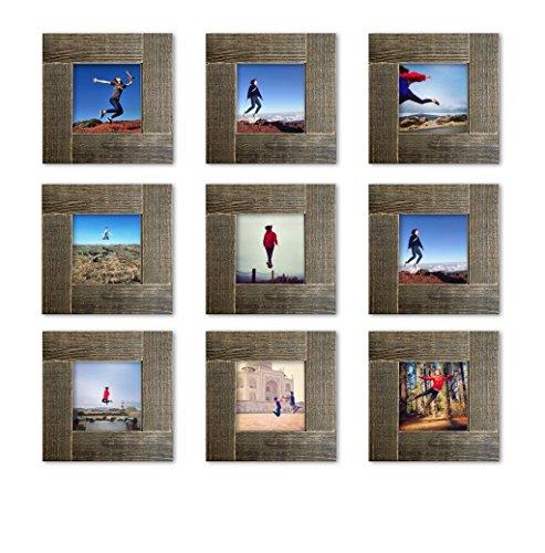 Tiny Mighty Frames 9-Set, Distressed Wood, Square Instagram Photo Frame, 4x4 (3.5x3.5 Window) (9) - Lab Photo Frame