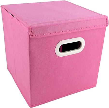 HJKGSVdv Caja de almacenamiento plegable de tela no tejida con tapa contenedor de almacenamiento de desechos multifunción, caja plegable rosa: Amazon.es: Hogar