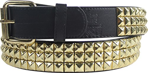 Gold Studded Belt - Triple Row Studded Leather Belt in Black/Gold by BodyPunks, Size: Large (37-41), Color: Black/Gold 3 Row