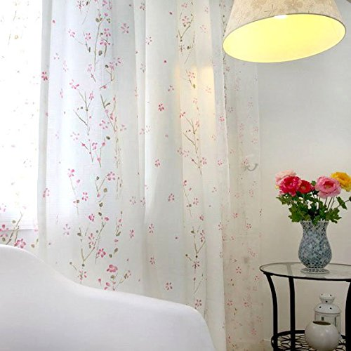 MZPRIDE Romantic Pink Cherry Blossom Voile Curtain Sheer Curtains Rustic Vintage Floral Custom Made Curtains 2Panels
