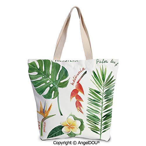 SCOXIXI Plant Women's Canvas Shoulder Hand Bag Tote Bag Bird of Paradise Palm L