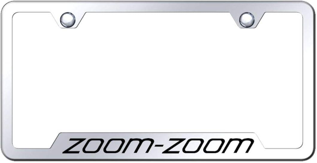 Mazda Zoom Stainless Steel License Plate Frame Engraved Chrome Made in USA Frame Mirror Bright Chrome
