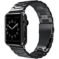 Apple Watch Band Stainless Steel Metal Watch Strap Replacement Bracelet for Apple iWatch (V-Black-42)