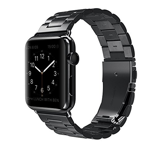 Apple Watch Band Stainless Steel Metal Watch Strap Replacement Bracelet for Apple iWatch (V-Black-38)