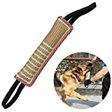 Dog Tug Toy Bite Pillow Jute Bite Toy Dog Bite Tug Toy with 2 Handles Jute - Best for Tug of War, Puppy Training Interactive Play - Interactive Toys for Medium to Large Dogs (11.8 in)