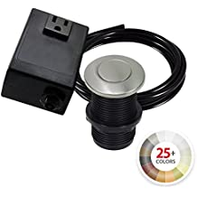 NORTHSTAR DECOR AS010 Single Outlet Garbage Disposal Air Switch Kit. 20+ Finishes to match any Faucet. Compatible with any Garbage Disposal Unit (Stainless Steel)