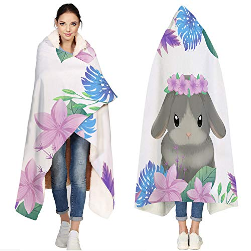 T&H Home Hooded Jersey Soft Fleece Sherpa Wearable Travel Warm Cozy Throw Blanket Poncho - Bunny Blanket, Cosplay Flannel Cloak Cape Hoodies - 50x60 inch