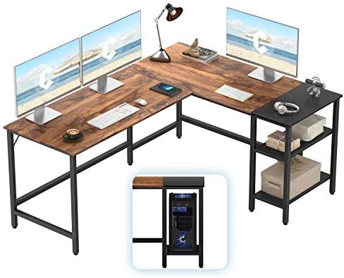 CubiCubi L-Shaped Computer Desk, Industrial Office Corner Desk Writing Study Table with Storage Shelves, Space-Saving, Dark Rustic/Black