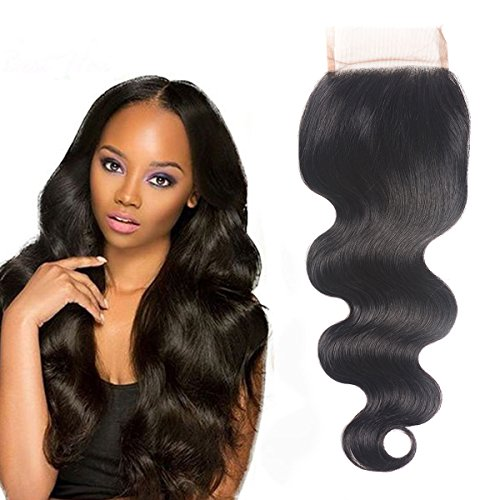 Voguetrend Hair Lace Closure Human Hair Body Wave 100% Unprocessed Human Hair Free Part Natural Color(18'' Free Part Closure)