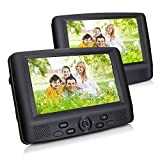 9'' Dual Screen Portable DVD Player with Car Headrest Mount Brackets, 5 Hours Built-in Rechargeable Battery -Black