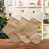 WeiVan Set of 3 Christmas Stocking Large Size Plain Burlap Stocking Christmas Decor