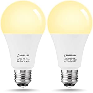 LOHAS 3-Way LED Light Bulb A21, 50/100/150W Equivalent Light Bulb, Soft White 3000K, Dimmable 3 Way LED Frosted Light Bulbs, E26 Medium Base for Floor Lamp, Night Stand Lamps, End Table, 2Pack