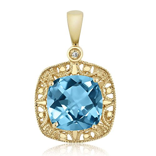 Cushion Diamond Necklace (10K Yellow Gold Swiss Blue Topaz and Diamond Accent Women's Pendant Necklace (2.75 cttw, 8MM Cushion))