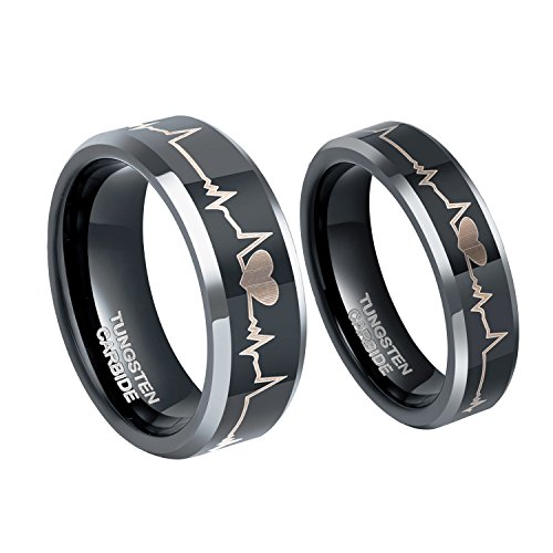 6mm EKG Heartbeat Wedding Band Tungsten Carbide Anniversary Promise Rings for Couples Size 5.5 by Greenpod