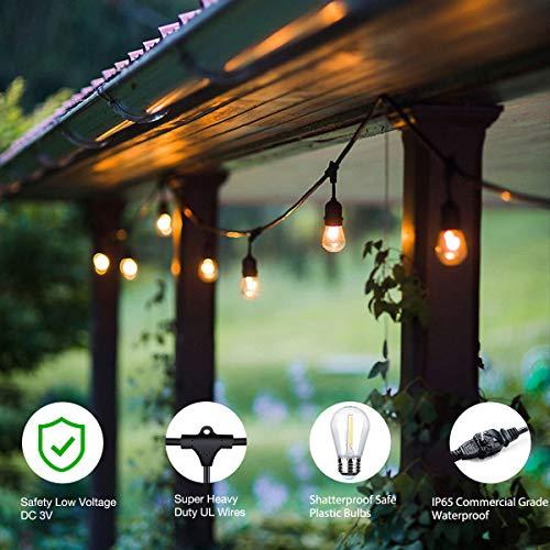 Foxlux Outdoor Led String Lights 48ft Shatterproof