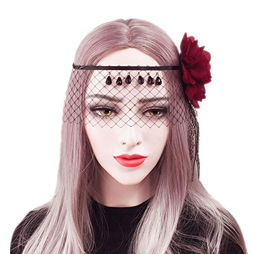 sd finger Retro Halloween Party Headband Veil Headband Vintage Red Flower Black Mesh Gemstone Crown Masquerade Mask Women Cosplay Headress