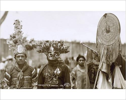[Photographic Print of Native Dancers, Mexico] (Aztec Dancers Costumes)