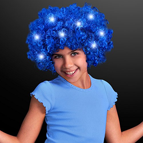 70s Disco Style Blue Afro Wig With LED Lights