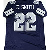 $415 » Emmitt Smith Signed Blue Pro Style Jersey w/Grey Numbers - Beckett W Auth *R2 - Autographed NFL Jerseys