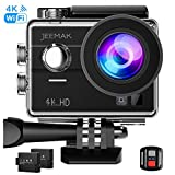 JEEMAK 4K Touch Screen Action Camera 16MP Waterproof Sports Cam 170° Ultra Wide Angle Len with SONY Sensor WiFi Remote Control 2 Pcs Rechargeable Batteries and Accessories Kits