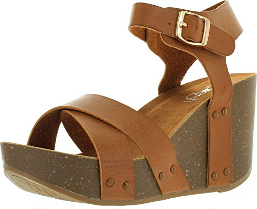 Refresh MARA-05 Women's Ankle Strap Comfort Criss Cross Platform Wedge Sandal,8.5 B(M) US,Brown (Sandals Wedge Womens)