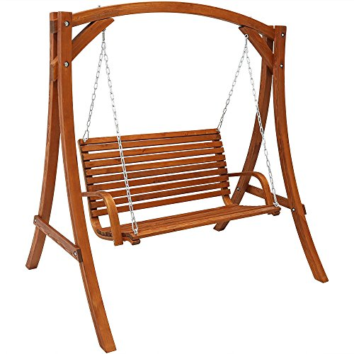 - Sunnydaze Deluxe 2-Person Wooden Patio Swing for Outdoor Porch, Backyard or Deck