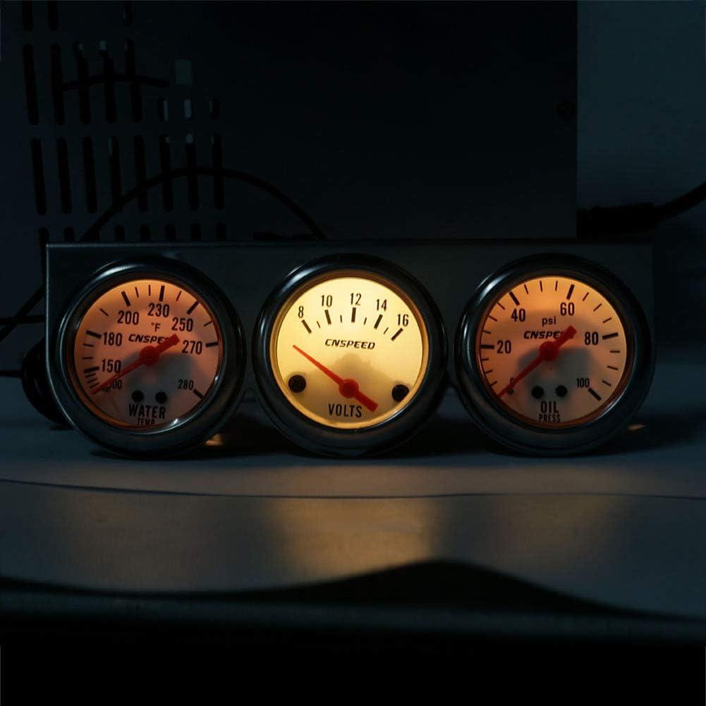 Hihey Triple 3 Gauge Set Universal Car 2 52mm Chrome Volt Jauge de temp/érature deau Jauge de Pression dhuile Triple 3 Gauge Set Kit de jauges