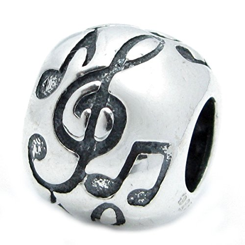 Sterling Silver Musical Notes Charm (Sterling Silver Treble G Clef Melody Music Note Bead For European Charm Bracelets)