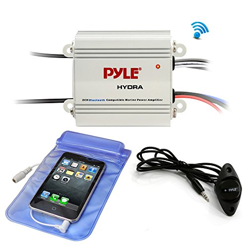 Pyle Auto 2-Channel Bridgeable Marine Amplifier - 200 Watt RMS 4 OHM Full Range Stereo with Wireless Bluetooth & Powerful Prime Speaker - High Crossover HD Music Audio Multi Channel System PLMRMB2CW ()