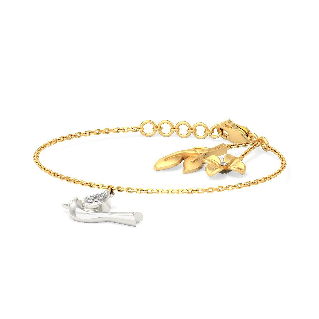 identification-bracelets Size 18K Yellow Gold 0.055 cttw Round-Cut-Diamond 9.5 inches IJ| SI
