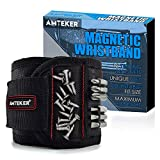 Amteker Magnetic Wristband with 15 Powerful Magnets, Best Man Gifts for Men, Gadgets for Men, Gifts for Dad, DIY Handyman - Magnetic Wristband for Screws, Nails, Drilling Bits and Small Tools