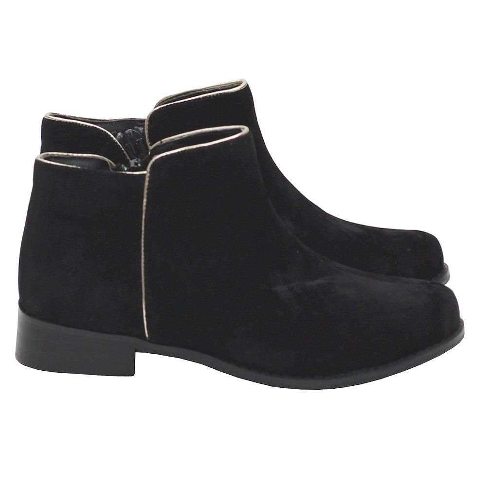 L'Amour Toddler Girl 8 Black Faux Suede Low Boot Shoe