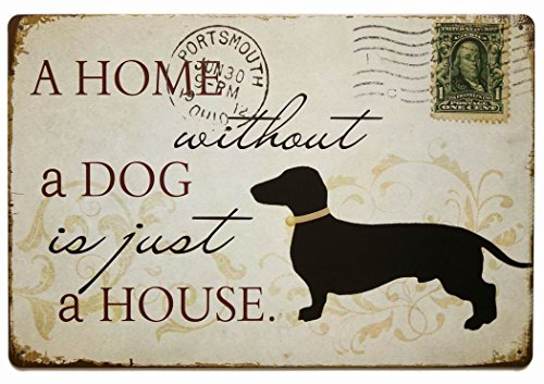 - ERLOOD a Home Without a Dog is Just a House Metal Tin Sign, Vintage Style Wall Coffee & Bar Decor,Size 12 X 8