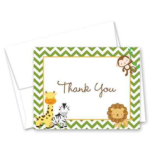 50 Cnt Jungle Safari Animals Baby Thank You Cards ()