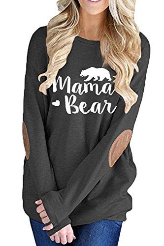 2df91e148a0185 ALBIZIA Women s Long Sleeve Crew Neck Mama Bear Elbow Patch T Shirt ...