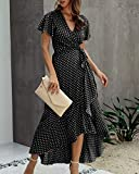 ECOWISH Women's Dresses Bohemian Wrap V Neck Short