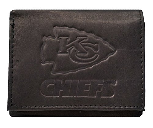 Nfl Team Embossed Billfold (Kansas City Chiefs NFL Embossed Logo Black Leather Trifold)