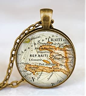 Amazon.com: 24K Gold Plated The Republic Of Haiti Map Pendant ...