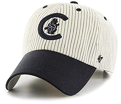 '47 Brand – MLB Chicago Cubs Classic Cooperstown Logo Pin Stripe CleanUp Size: OSFM Adjustable Dad Hat White/Dark Navy