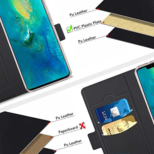 Viankors Case for Huawei mate 20 pro Mobile Phone case, [Stand Function] [Card Slot] [Magnet] [Anti-Slip] Premium Leather Flip Case Cover for Huawei mate 20 pro Mobile Phone case (Black)