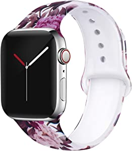 OriBear Compatible with Apple Watch Band 44mm 42mm Elegant Floral Bands for Women Soft Silicone Solid Pattern Printed Replacement Strap Band for Iwatch Series 4/3/2/1 M/L Delicate Flower