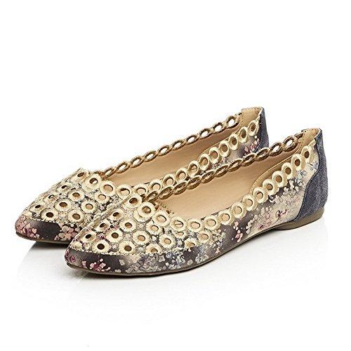 AgooLar Damen Spitz Zehe Ziehen auf Gewebe Tier Stoffdruck Ohne Absatz Flache Schuhe Grau