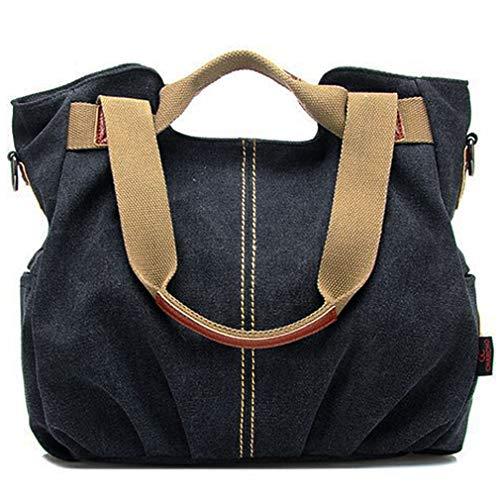Women's Ladies Vintage Casual Hobo Canvas Multi-Pocket Daily Purse Top Handle Shoulder Tote Crossbody Bag Shopper Handbag