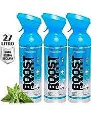 Oxígeno puro en lata – MENTA PIPERITA, 27L de oxígeno puro al 95% en 3 latas portátiles de 9L, que proporcionan más de 450 inhalaciones. Aumenta la resistencia, recuperación y rendimiento