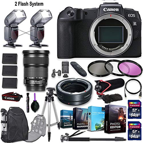 Canon EOS RP Mirrorless Camera and Canon EF 24-105mm f/3.5-5.6 is STM Lens + 2 Flash System with Deluxe Accessory Kit (4-Pack Photo/Video Editing Software, Pro Microphone w/Windshield & More.) from Canon