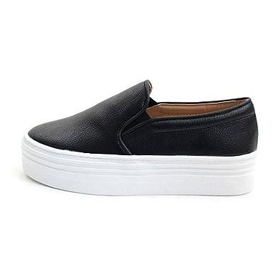 90d5ca7ea32a EpicStep Women s Black Casual Simple Slip-On Mid Heels Thick Soles Platform  Shoes Low Fashion