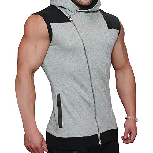 (Mechaneer Men's Workout Gym Bodybuilding Muscle Sleeveless Hoodie(Grey L/Tag 2XL))