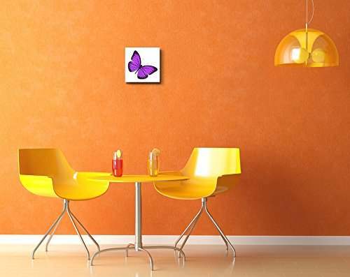 Beautiful Flying Purple Butterfly on White Background Wall Decor